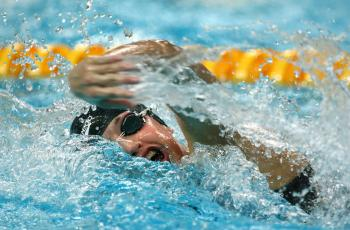 Melanie Nocher of Ireland competes in the Women's 200m Freestyle Heat 2 held at the National Aquatics Center on Day 3 of the Beijing 2008 Olympic Games on August 11, 2008 in Beijing, China. (Mike Hewitt/Getty Images)