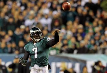 Michael Vick told NBC last week that he felt he 'cheated' the Atlanta Falcons organization. Above, Michael Vick #7 of the Philadelphia Eagles passes against the New York Giants at Lincoln Financial Field on November 21 in Philadelphia. (Michael Heiman/Getty Images)