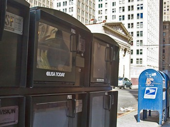 A montage of photos of four empty Epoch Times newspaper boxes in the Financial District in San Francisco, taken on Aug. 22, 2011. (Jan Jekielek/The Epoch Times)