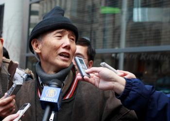 Outside the security commission hearing Wednesday, Mr. Liu, a former doctor from China, said he lost most of his life savings investing with Weizhen Tang. (Sun Dali/The Epoch Times)