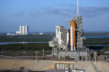 GETTING READY: Space shuttle Atlantis atop the mobile launcher platform sits on Launch Pad 39A at NASA's Kennedy Space Center in Florida on April 17.  (NASA/Dimitri Gerondidakis)