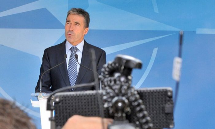 Secretary-General Anders Fogh Rasmussen speaks to the press on June 26 at the NATO Headquarters in Brussels. The North Atlantic Council met for consultations on a request from Turkey following the loss of a F-4 fighter jet shot down on June 22 by Syria. (Georges Gobet/AFP/GettyImages)