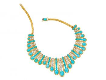 JEWELRY: A gold, diamond, and turquoise fringe necklace, estimated at $12,000-$18,000, will be offered at Doyle New York on April 13 in the Important Estate Jewelry sale. (Courtesy of Doyle New York)