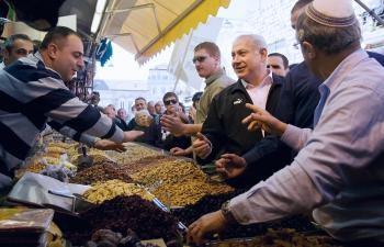 Israel's Likud party leader and former prime minister Benjamin Netanyahu visits Jerusalem's outdoor grocery market Mahane Yehuda on Feb. 04, 2009.  (Leon Neal/AFP/Getty Images)