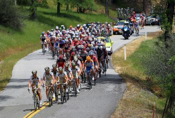 The peloton passes through Nevada County during Stage One of the 2010 Tour of California from Nevada City to Sacramento. (Doug Pensinger/Getty Images)