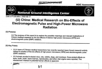 ANIMAL EXPERIMENTS: Chinese communist scientists carried out medical research on animals such as rabbits, dogs, and monkeys, using intense high-power microwaves and electromagnetic radiation, to probe potential human effects of the weaponry. (National Security Archive)