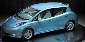 Nissan LEAF: The new Japanese Nissan Motor's electric vehicle during the opening ceremony for the new company headquarters in Yokohama on August 2, 2009. (Toru Yamanaka/AFP/Getty Images)
