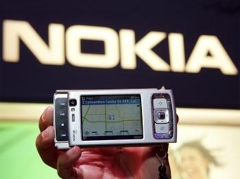 A Nokia N97 mobile computer is displayed at the 2009 International Consumer Electronics Show at the Las Vegas Convention Center January 8, 2009 in Las Vegas, Nevada. (Ethan Miller/Getty Images)