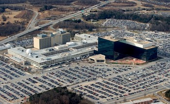 The National Security Agency (NSA) headquarters at Fort Meade, Maryland, as seen from the air in January 2010. (Saul Loeb/AFP/Getty Images)
