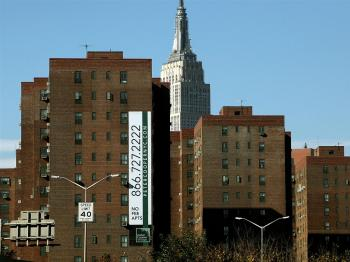 The Stuyvesant Town and Peter Cooper Village apartment complexes are seen in front of the Empire State Building October 22, 2009 in New York City. (Mario Tama/Getty Images)