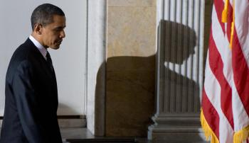 US President Barack Obama leaves the Treasury Department in Washington, DC, January 26, 2009. He gave his first foreign media interview to an Arabic TV station. (Saul Loeb/AFP/Getty Images)