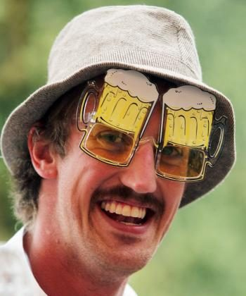 A visitor smiles as he wears beer glasses during the opening day of the Oktoberfest on Sept. 18 in Munich, Germany. 2010 marks the 200th anniversary of Oktoberfest. (Alexandra Beier/Getty Images)