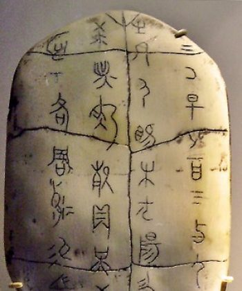 Chinese characters: an example of an Oracle shell with inscriptions of the earliest Chinese characters. (Wikipedia)