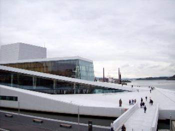 NORDIC CULTURE: A view of Oslo's new opera house on April 12, 2008, its official inauguration. Located at the edge of Oslo Fjord, the 415,000-square-foot complex cost $685 million and took five years to build.  (Susan Harris/The Epoch Times)