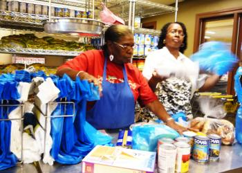 SHORTAGE: A food pantry on Manhattan's Upper West side runs low on food as recent months bring in more people in need of services. An expansion of the Federal government's food stamp program will take effect Oct. 1.  (Christine Lin/Epoch Times)