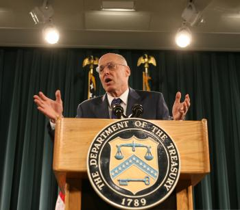 U.S. Treasury Secretary Henry Paulson at a news conference at the Treasury Department on September 19. Last weekend, President George W. Bush and Treasury Secretary Hank Paulson formally proposed a plan to allow the U.S. Treasury Department to buy up to $ (Chris Kleponis/AFP/Getty Images )