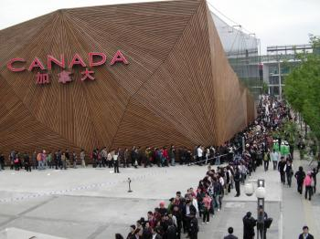 Crowds line up outside the Canada Pavilion at Expo 2010 in Shanghai. The expo, the biggest in history, runs from May 1 to Oct. 31. (Department of Canadian Heritage)