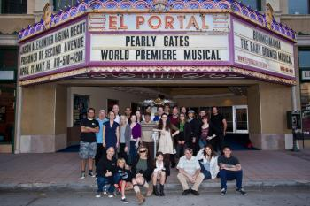 Scott Ehrlich (bottom left) and the cast of Pearly Gates the Musical. (Courtesy of Amanda Gattenby)