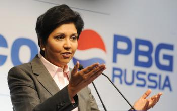 DRINK UP: PepsiCo CEO Indra Nooyi speaks at the official opening of a PepsiCo Bottling Group plant in Domodedovo, Russia on July 8, 2009. International sales at PepsiCo jumped 13 percent during the last quarter. (Natalia Kolesnikova/AFP/Getty Images )