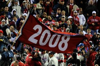 A flag is seen waving as fans and players of the Philadelphia Phillies celebrate their 4-3 win to win the World Series against the Tampa Bay Rays. (Jeff Zelevansky/Getty Images)