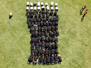 GLOBAL BRAND: Guinness celebrates its 250th year with a human shaped pint of Guinness at Hooten Reserve, in Auckland, New Zealand. There are plans to celebrate the anniversary across the globe. (Hannah Johnston/Getty Images)