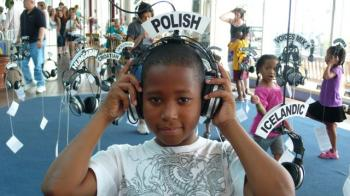A young man experiences the Polish language at the World Voices Project. (Courtesy of World Voices Project)