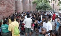 Harlem Pool Bars Locals on Hottest Day of Year