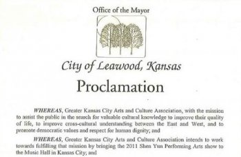 Proclamation issued by the Office of Mayor Peggy Dunn, City of Leawood, Kansas.