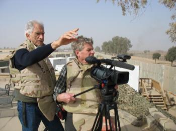 Fighting for Life Director Terry Sanders and cameraman Erik Daarstad filming in Balad, Iraq. (American Film Foundation)