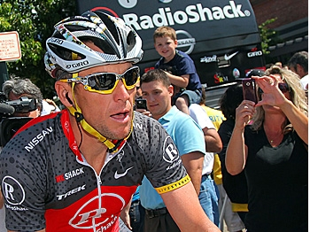 Lance Armstrong of Radio Shack rides to the start of stage five of the Tour of California on May 20, 2010. (Chris Graythen/Getty Images)