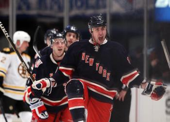 ABSOLUTE STUNNER: Brandon Dubinsky and the New York Rangers scored three quick goals in the third period en route to their stunning defeat of the Boston Bruins on Monday night at MSG.