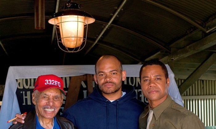 "On the set of the film ""Red Tails"" are (L-R) original Tuskegee Airman Roscoe Brown, director Anthony Hemingway, and actor Cuba Gooding Jr. (Jiri Hanzl/ Lucasfilm, Ltd.)"