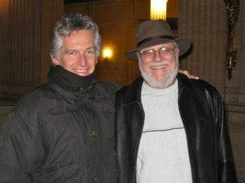 Retired Professor Marc Schwertley (R) with his investor friend, Kevin, (L) at Shen Yun Performing Arts in Chicago. (Courtesy of SOH Radio Network)