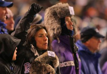 COLD FANS: Fans of the Colorado Rockies had to bundle up for last Sunday's Game 3 against the Philadelphia Phillies. (Doug Pensinger/Getty Images)