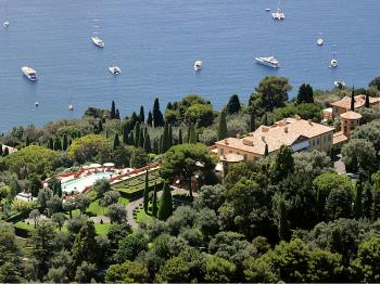 SPRAWLING: Leopolda estate, in Villefranche-sur-Mer, French Riviera, August 2008. The estate was sold to Russian billionaire Mikhail Prokhorov for &#8364 370 million (US$503.6 million), plus &#8364 19.5 million (US$26.5) for the furniture in August 2008 but later the Russian magnate refused to clinch the deal. Originally built by King Leopold II of Belgium at the beginning of 1900, the cream-colored villa is set in 20 acres of gardens overlooking Cap Ferrat, near Villefranche-sur-Mer. (Eric Estrade/AFP/Getty Images)