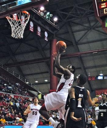 Rutgers' Jonathan Mitchell recorded 21 points and a double-double on Saturday at home to Providence. (Kyle Franko/NewJerseyNewsroom.com )