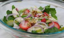 Strawberry and Pear Raspberry Vinaigrette Salad