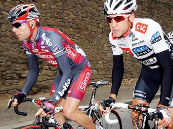 Australian Silence Lotto team leader Cadel Evans rides with CSCs Carlos Sastre during the third stage of the 2008 Tour de France. Both are considered possible overall winners. (Patrick Hertzog/AFP/Getty Images)