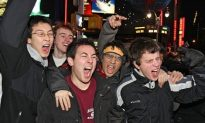Giants Fans Celebrate Super Victory in Times Square