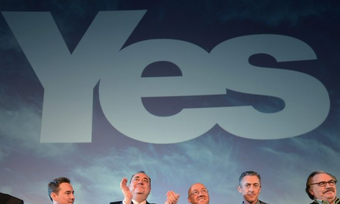 Alex Salmond, Scotland's First Minister and leader of the Scottish National Party, attends the Yes campaign launch with campaign supporters on May 25, 2012, in Edinburgh, Scotland. (Jeff J Mitchell/Getty Images)