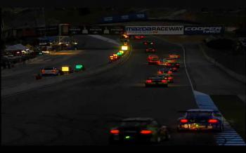 A screencap from Todocast.com of the field racing into the dark at Mazda Laguna Seca raceway. (Todocast.com)