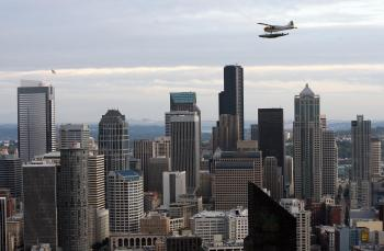 View of downtown Seattle, Washington as seen from the Space Needle 30 September 2006. (Gabriel Bouys/AFP/Getty Images)