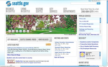 The Seattle.gov website which has earned the honor of Best of Web (BOW) for its official Web portal for a third time.  (Screenshot from seattle.gov)