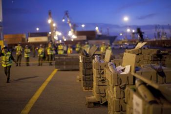 The Israeli military display hundreds of tonnes of arms seized at dawn on a ship bound for Syria and the Hezbollah militia in Lebanon, around 100 nautical miles from the Israeli coast, at the port of Ashdod on Nov. 4, 2009 in Israel. (Uriel Sinai/Getty Images)