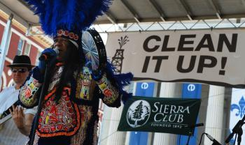 Actor Big Chief Monk Boudreaux sings at a rally organized by the Sierra Club. Rush Limbaugh blamed the Sierra Club for the Gulf oil spill on Monday. The Sierra Club responded by using Limbaugh's statement to initiate a campaign. (Mark Ralston/Getty Images)