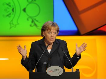 OPENING REMARKS: German Chancellor Angela Merkel addresses guests during the opening ceremony of the 61st Frankfurt Book Fair in Frankfurt October 13, 2009. (Torsten Silz/AFP/Getty Images)