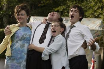 (L-R) Helena Bonham Carter, Eddie Marsan, Gregg Sulkin, and Ben Newton portray the real-life Bar Mitzvah story of director Paul Weiland in the British comedy 'Sixty Six.'  (First Independent Pictures)