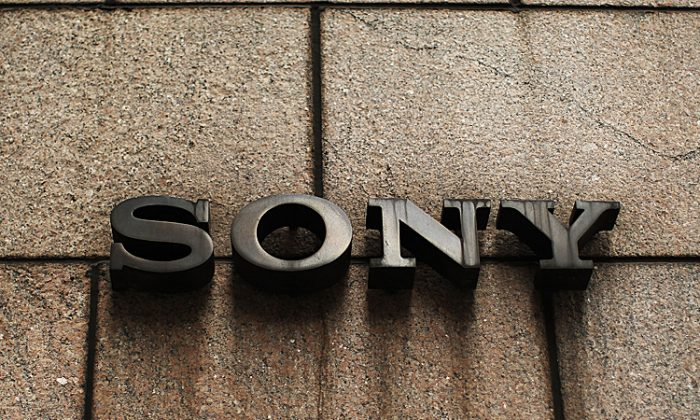 A sign outside of Sony's New York headquarters is viewed on April 10, in New York City. Sony, the Japanese electronics company, has more than doubled its projected net loss for the past financial year to $6.4 billion, its worst loss ever. (Spencer Platt/Getty Images)