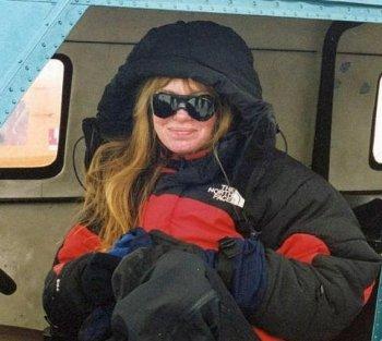 President of the Explorer's Club Lorie Karnath in Patriot Hills, Antarctica, 2002. (Max Gallimore)