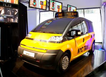 TAXI OF TOMORROW: Karsan USA, one of three finalists in a design competition for new taxi's for the city, unveiled their design on Wednesday.  (Amal Chen/The Epoch Times)
